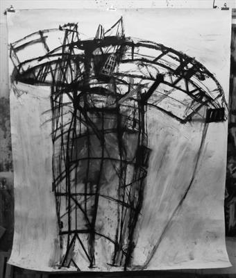 Big Crane by Kevin Tole, Drawing, Oil stick, Charcoal, emulsion on paper