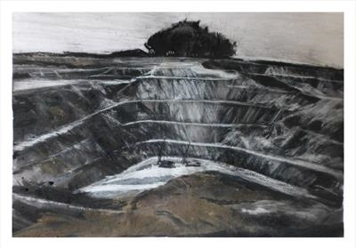 Hemerdon Open Pit Tungsten Mine by Kevin Tole, Drawing, Charcoal, Pastel and Mud