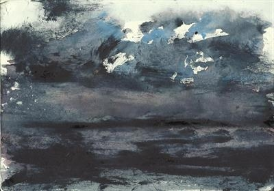 Seascape with equatorial storm by Kevin Tole, Painting, Watercolour on Paper