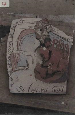 So Help You God - wallpiece by Kevin Tole, Ceramics, Stoneware heavily slipped and grogged