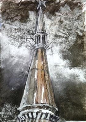 Top of the Kudrinskaya Square Building by Kevin Tole, Painting, Mixed Media on paper