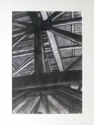 Under the Helideck II by Kevin Tole, Drawing, Charcoal and Pastel